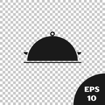 Black Covered with a tray of food icon isolated on transparent background. Tray and lid sign. Restaurant cloche with lid. Kitchenware symbol. Vector Illustration