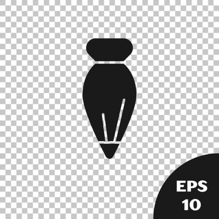 Black Pastry bag for decorate cakes with cream icon isolated on transparent background. Kitchenware and utensils. Vector Illustration