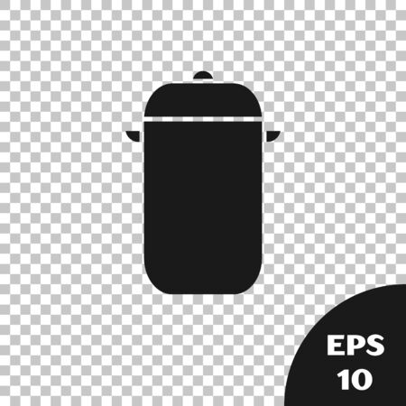 Black Cooking pot icon isolated on transparent background. Boil or stew food symbol. Vector Illustration Ilustrace