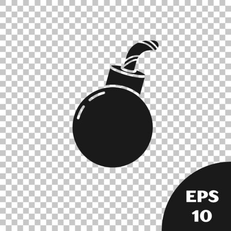 Black Bomb ready to explode icon isolated on transparent background. Happy Halloween party. Vector Illustration