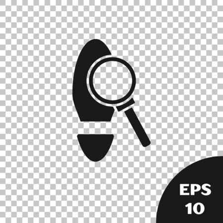 Black Magnifying glass with footsteps icon isolated on transparent background. Detective is investigating. To follow in the footsteps. Vector Illustration