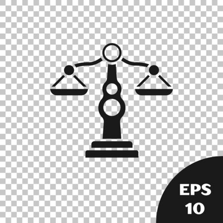 Black Scales of justice icon isolated on transparent background. Court of law symbol. Balance scale sign. Vector Illustration