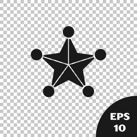 Black Hexagram sheriff icon isolated on transparent background. Police badge icon. Vector Illustration