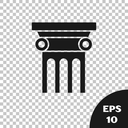 Black Law pillar icon isolated on transparent background. Vector Illustration