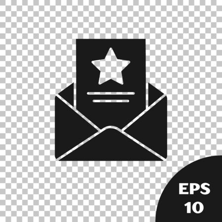 Black The arrest warrant icon isolated on transparent background. Police badge with document. Warrant, police report, subpoena. Justice concept. Vector Illustration