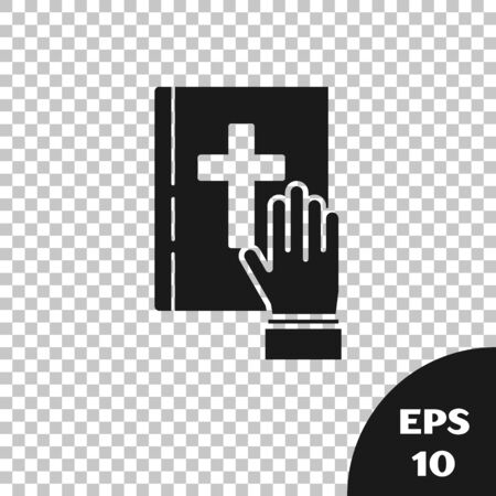 Black Oath on the Holy Bible icon isolated on transparent background. The procedure in court. Truth and truth. Promise before god. Vector Illustration