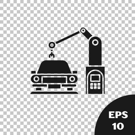 Black Industrial machine robotic robot arm hand on car factory icon isolated on transparent background. Industrial automation production automobile. Vector Illustration