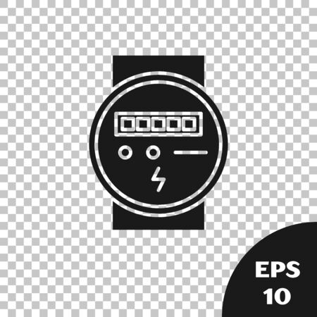 Black Electric meter icon isolated on transparent background. Vector Illustration