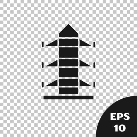 Black Electric tower used to support an overhead power line icon isolated on transparent background. High voltage power pole line. Vector Illustration Çizim
