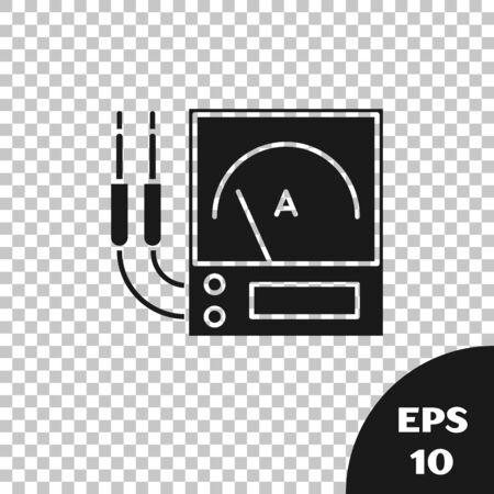 Black Ampere meter, multimeter, voltmeter icon isolated on transparent background. Instruments for measurement of electric current. Vector Illustration