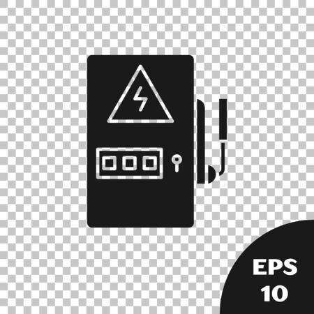 Black Electrical panel icon isolated on transparent background. Vector Illustration