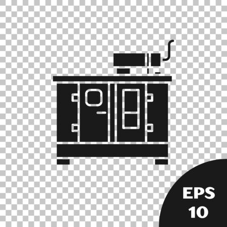 Black Diesel power generator icon isolated on transparent background. Industrial and home immovable power generator. Vector Illustration