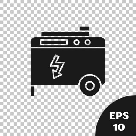 Black Portable power electric generator icon isolated on transparent background. Industrial and home immovable power generator. Vector Illustration