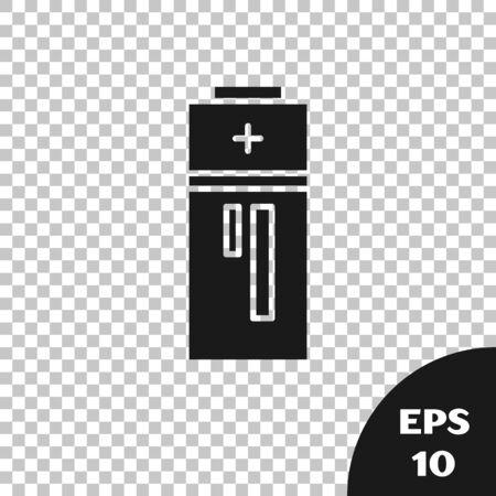 Black Battery icon isolated on transparent background. Lightning bolt symbol. Vector Illustration