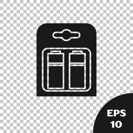 Black Battery in pack icon isolated on transparent background. Lightning bolt symbol. Vector Illustration