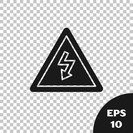 Black High voltage sign icon isolated on transparent background. Danger symbol. Arrow in triangle. Warning icon. Vector Illustration Ilustrace
