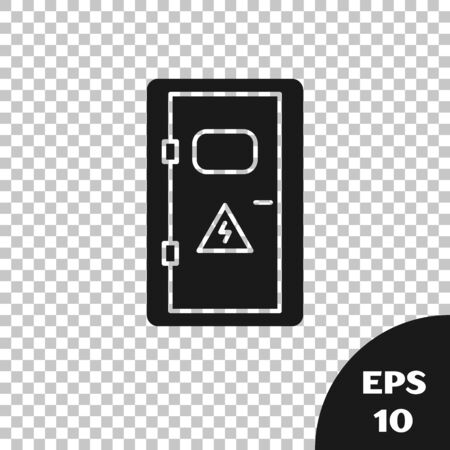 Black Electrical cabinet icon isolated on transparent background. Vector Illustration