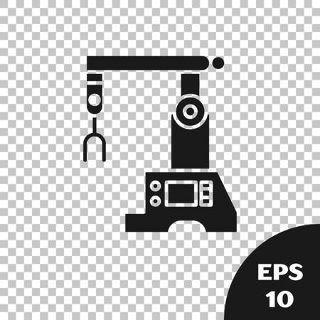Black Assembly line icon isolated on transparent background. Automatic production conveyor. Robotic industry concept. Vector Illustration