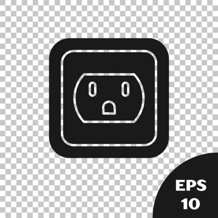 Black Electrical outlet in the USA icon isolated on transparent background. Power socket. Vector Illustration