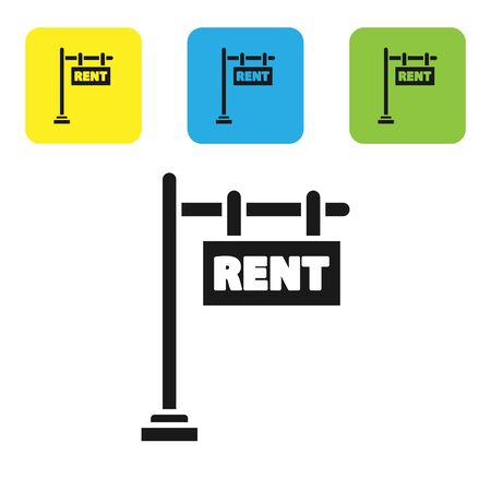 Black Hanging sign with text Rent icon isolated on white background. Signboard with text Rent. Set icons colorful square buttons. Vector Illustration 일러스트