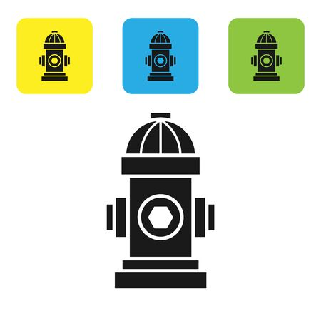 Black Fire hydrant icon isolated on white background. Set icons colorful square buttons. Vector Illustration Çizim