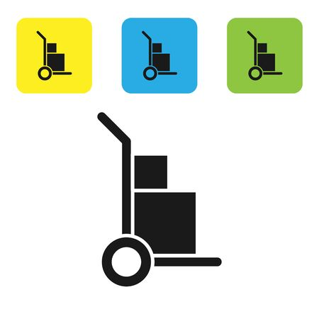 Black Hand truck and boxes icon isolated on white background. Dolly symbol. Set icons colorful square buttons. Vector Illustration Ilustração