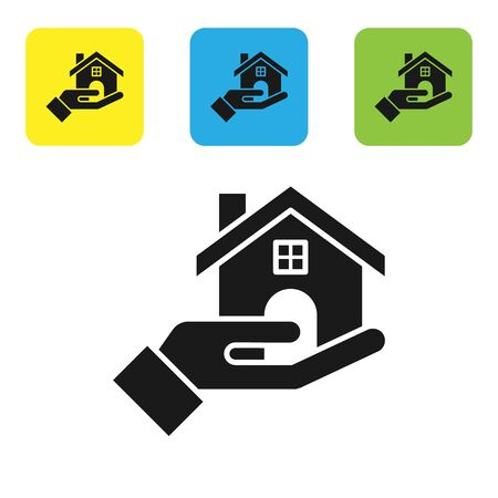 Black Realtor icon isolated on white background. Buying house. Set icons colorful square buttons. Vector Illustration