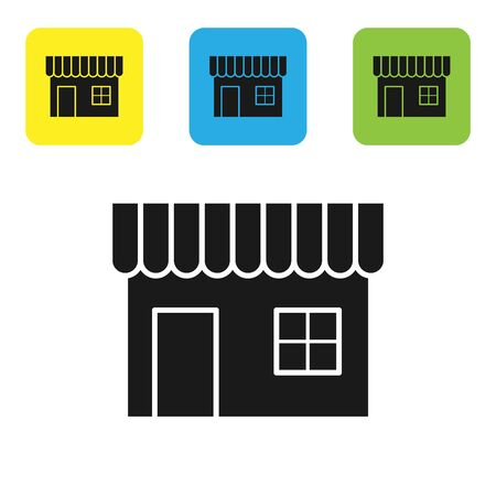 Black Shopping building or market store icon isolated on white background. Shop construction. Set icons colorful square buttons. Vector Illustration