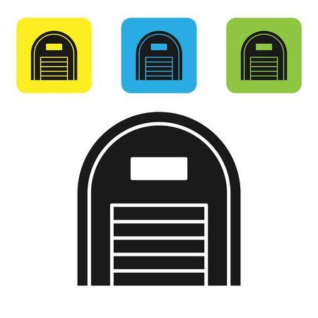 Black Warehouse icon isolated on white background. Set icons colorful square buttons. Vector Illustration Ilustração
