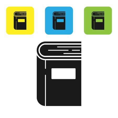 Black Book icon isolated on white background. Set icons colorful square buttons. Vector Illustration