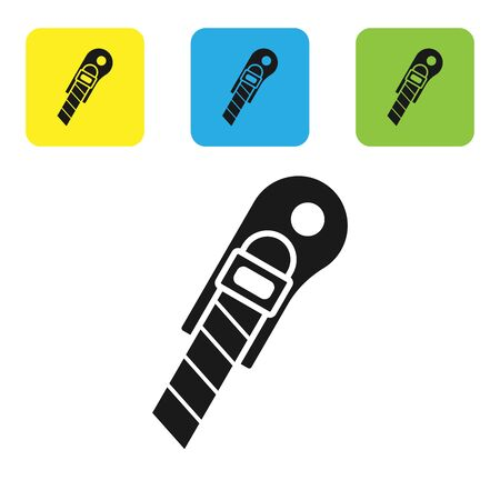 Black Stationery knife icon isolated on white background. Office paper cutter. Set icons colorful square buttons. Vector Illustration