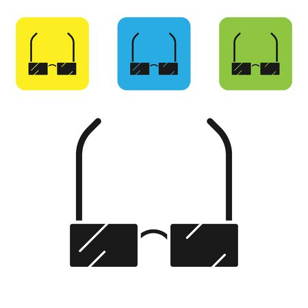 Black Glasses icon isolated on white background. Eyeglass frame symbol. Set icons colorful square buttons. Vector Illustration Ilustração