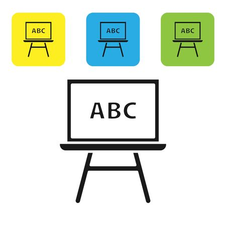 Black Chalkboard icon isolated on white background. School Blackboard sign. Set icons colorful square buttons. Vector Illustration