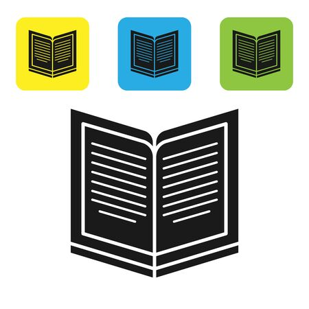 Black Open book icon isolated on white background. Set icons colorful square buttons. Vector Illustration Stock fotó - 133710208
