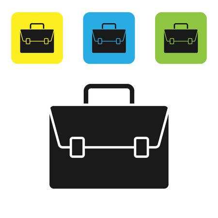 Black Briefcase icon isolated on white background. Business case sign. Business portfolio. Set icons colorful square buttons. Vector Illustration