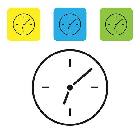 Schwarze Uhrsymbol isoliert auf weißem Hintergrund. Zeitsymbol. Stellen Sie Ikonen bunte quadratische Knöpfe ein. Vektorillustration