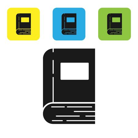 Black Book icon isolated on white background. Set icons colorful square buttons. Vector Illustration Stock fotó - 133710228