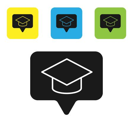 Black Graduation cap in speech bubble icon isolated on white background. Graduation hat with tassel icon. Set icons colorful square buttons. Vector Illustration