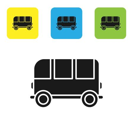 Black School Bus icon isolated on white background. Set icons colorful square buttons. Vector Illustration