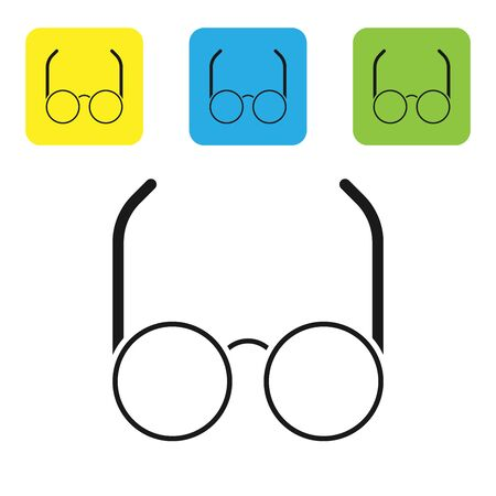 Black Glasses icon isolated on white background. Eyeglass frame symbol. Set icons colorful square buttons. Vector Illustration 스톡 콘텐츠 - 133710236