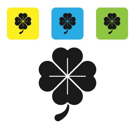 Black Four leaf clover icon isolated on white background. Happy Saint Patrick day. Set icons colorful square buttons. Vector Illustration