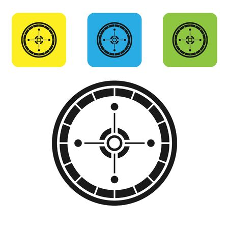Black Casino roulette wheel icon isolated on white background. Set icons colorful square buttons. Vector Illustration