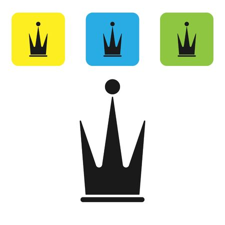 Black Crown icon isolated on white background. Set icons colorful square buttons. Vector Illustration Illusztráció
