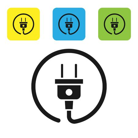 Black Electric plug icon isolated on white background. Concept of connection and disconnection of the electricity. Set icons colorful square buttons. Vector Illustration Ilustração