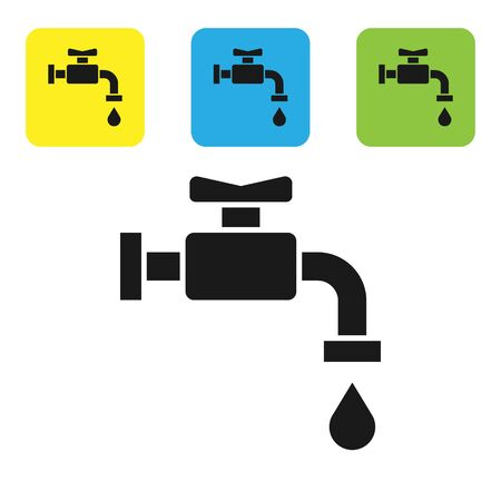 Black Water tap icon isolated on white background. Set icons colorful square buttons. Vector Illustration