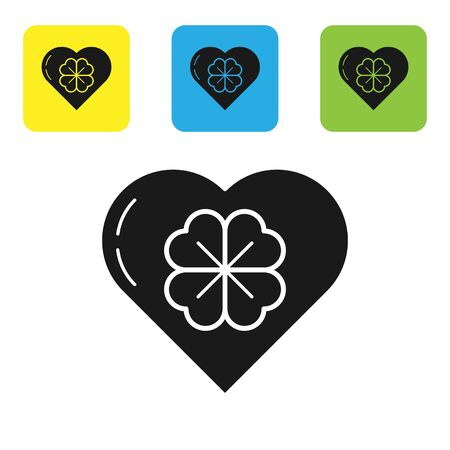 Black Heart with four leaf clover icon isolated on white background. Happy Saint Patrick day. Set icons colorful square buttons. Vector Illustration Banco de Imagens - 133710397
