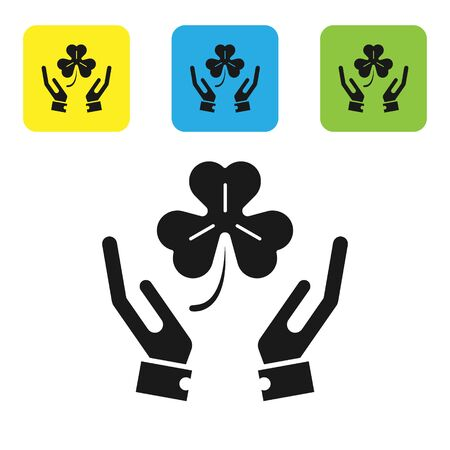 Black Human hands holding four leaf clover icon isolated on white background. Happy Saint Patrick day. Set icons colorful square buttons. Vector Illustration Ilustração