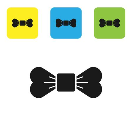 Black Bow tie icon isolated on white background. Set icons colorful square buttons. Vector Illustration