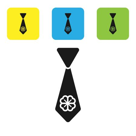 Black Tie with four leaf clover icon isolated on white background. Necktie and neckcloth symbol. Happy Saint Patricks day. Set icons colorful square buttons. Vector Illustration