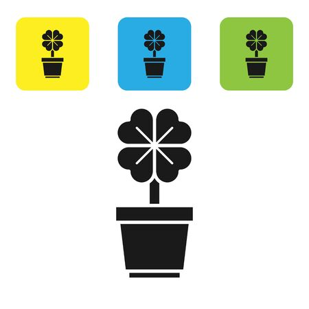 Black Four leaf clover in pot icon isolated on white background. Happy Saint Patrick day. Set icons colorful square buttons. Vector Illustration Ilustração